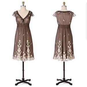 Anthropologie Lithe Laurel Run Embroidered Dress